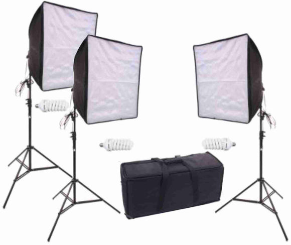 Zumm Photo 20 inch Square 3 Softbox Kit (3 CFL Bulbs)