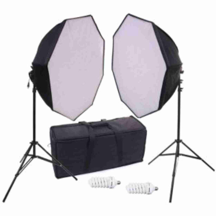 "Zumm Photo 28"" X 28""  DUAL OCTAGONAL SOFTBOX KIT with (2 CFL Bulb) & STANDS"