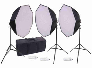 "TRIPLE 28"" X 28"" OCTAGONAL SOFTBOX KIT with 3 CFL BULB and STANDS"