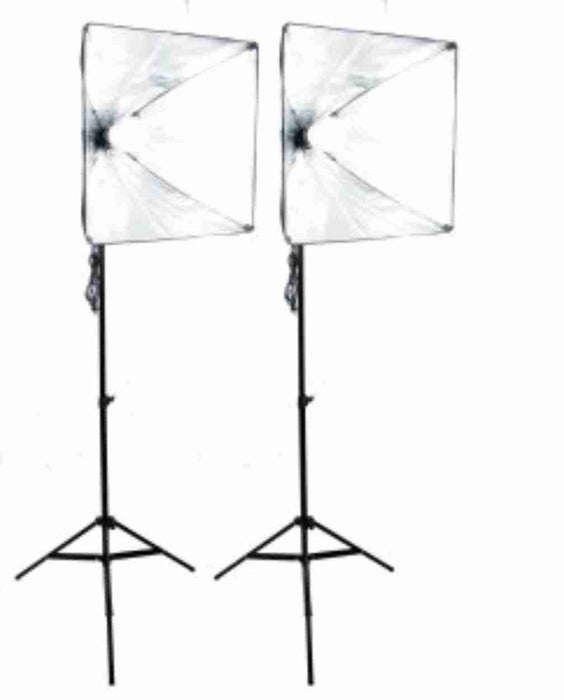 Zumm Photo 20 inch Square 2 Softbox Kit- 2 LEDs w/6 ft Stands (No bag)