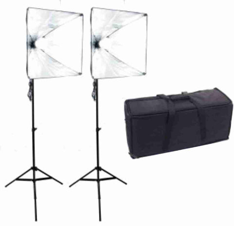 20 inch Square 2 Softbox Kit- 2 LEDs w/6 ft Stands (No bag)