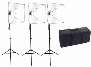 Zumm Photo 20 inch Square 3 Softbox Kit- 3 LEDs w/6 ft Stands