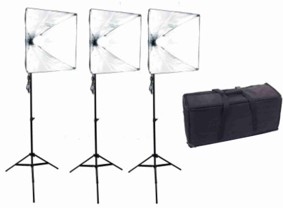 20 inch Square 3 Softbox Kit- 3 LEDs w/6 ft Stands