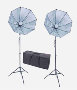 Zumm Photo 28 inch Octag 2 Softbox Kit- 2 LEDs w/6 ft Stands