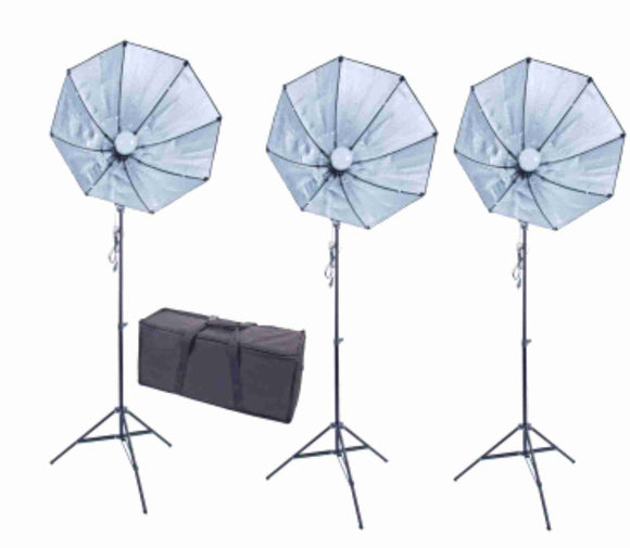 Zumm Photo 28 inch Octag 3 Softbox Kit- 3 LEDs w/Bag, 6 ft Stands