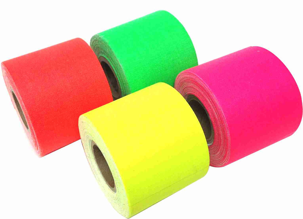 "2"" x 8 yard ASSORTED NEON COLORS - ORANGE, PINK, GREEN, YELLOW - 4 Pack"