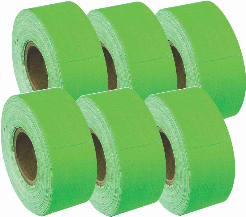 "1"" x 8 YARDS MINI ROLL GAFFERS TAPE - FLORESCENT GREEN - 6 Pack"