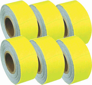 "1"" x 8 YARDS MINI ROLL GAFFERS TAPE - FLORESCENT YELLOW - 6 Pack"