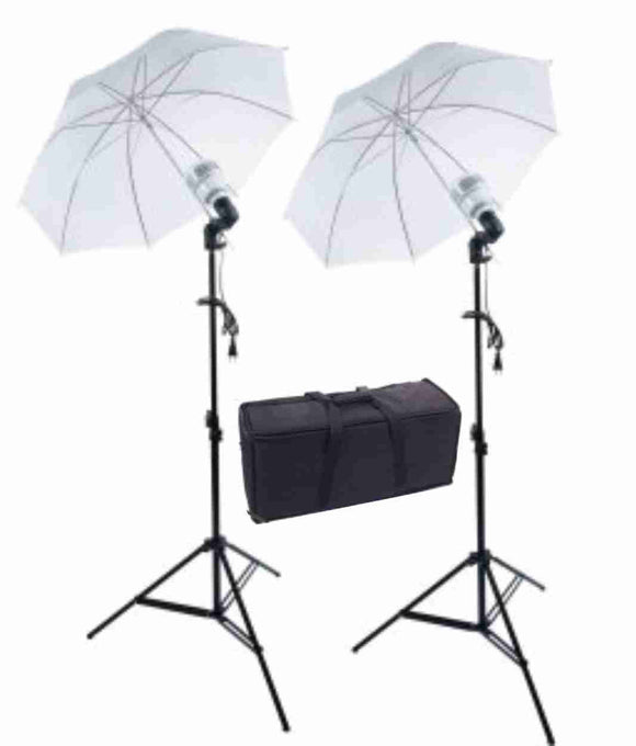 Zumm Photo Dual 36 inch Umbrella Kit- 2 LEDs w/Bag, 6 ft Stands