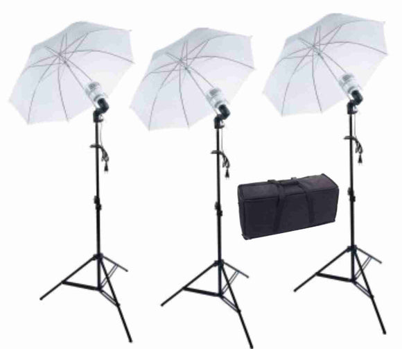 Zumm Photo Triple 36 inch Umbrella Kit- 3 LEDs w/Bag, 6 ft Stands
