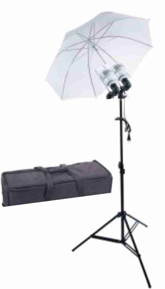 Zumm Photo 36 inch 1 Umbrella Kit- Dual LEDs  w/6 ft stand, with Bag