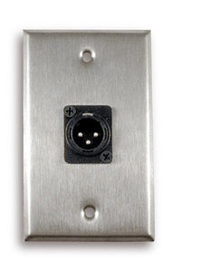 Single Gang Stainless Steel Wall Plate with XLR Male - AMERICAN RECORDER TECHNOLOGIES, INC.