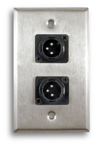 Single Gang Stainless Steel Wall Plate with Dual XLR Male Plug - AMERICAN RECORDER TECHNOLOGIES, INC.