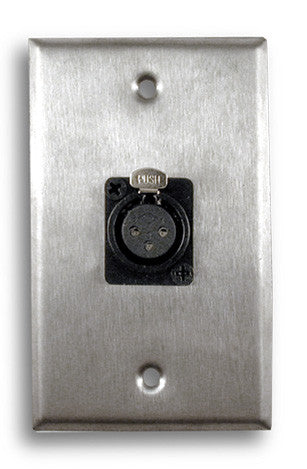 Single Gang Stainless Steel Wall Plate with XLR Female - AMERICAN RECORDER TECHNOLOGIES, INC.