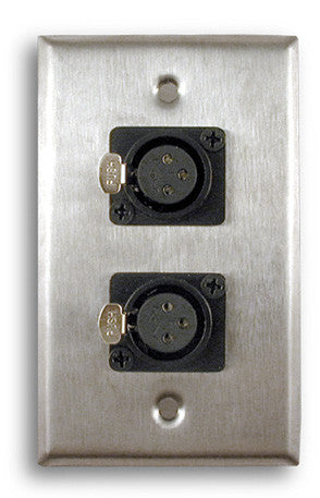 Single Gang Stainless Steel Wall Plates with Dual XLR Female - AMERICAN RECORDER TECHNOLOGIES, INC.