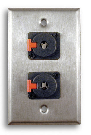Single Gang Stainless Steel Wall Plate with Dual TRS Female - AMERICAN RECORDER TECHNOLOGIES, INC.