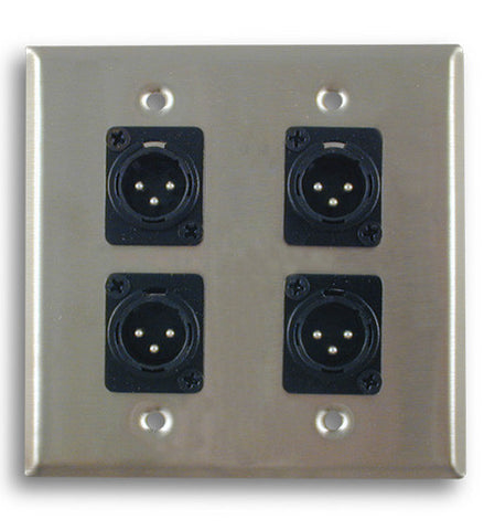 Dual Gang Stainless Steel Wall Plates with Four XLR Male - AMERICAN RECORDER TECHNOLOGIES, INC.
