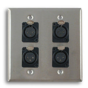 Dual Gang Stainless Steel Wall Plates with Four XLR Female - AMERICAN RECORDER TECHNOLOGIES, INC.