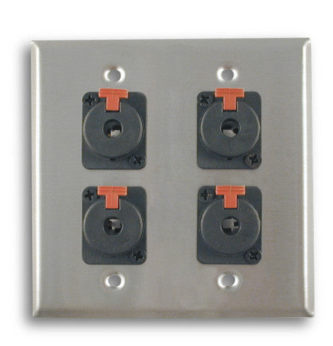 Dual Gang Stainless Steel Wall Plates with Four TRS Female - AMERICAN RECORDER TECHNOLOGIES, INC.