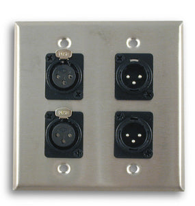 Dual Gang Stainless Steel Wall Plates with Two XLR Female/Two XLR Male - AMERICAN RECORDER TECHNOLOGIES, INC.