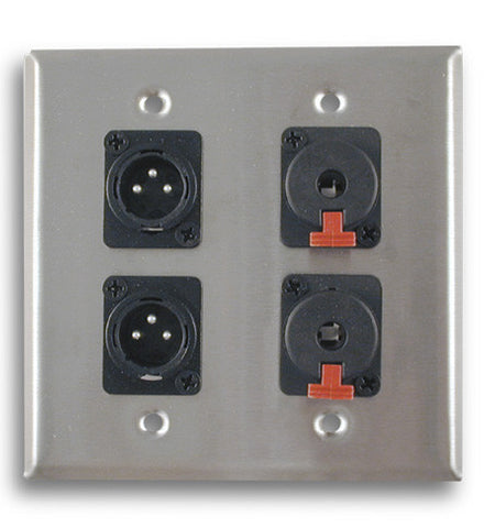 Dual Gang Stainless Steel Wall Plates with Two XLR Male/Two TRS Female - AMERICAN RECORDER TECHNOLOGIES, INC.
