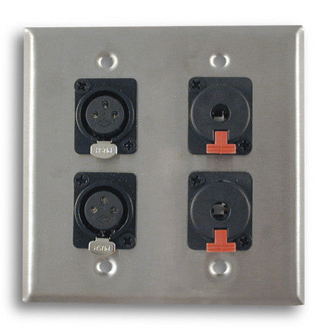 Dual Gang Stainless Steel Wall Plates with Two XLR Female/Two TRS Female - AMERICAN RECORDER TECHNOLOGIES, INC.