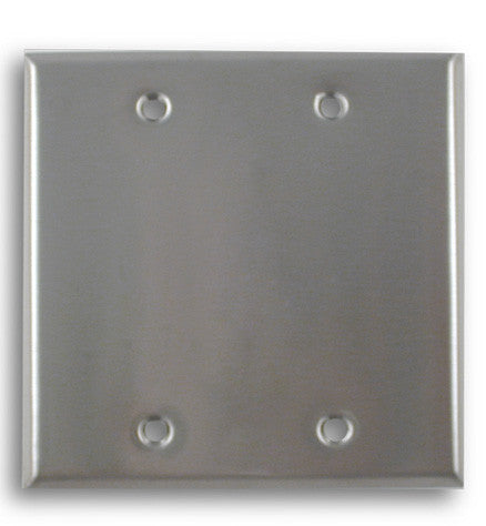 Blank Dual Gang Blank Stainless Steel Wall Plate - AMERICAN RECORDER TECHNOLOGIES, INC.