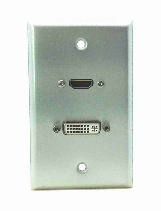 Single Gang HDMI + DVI-D Aluminum Wall Plate