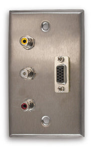 Single Gang VGA + 3 RCA Stainless Steel Wall Plate - AMERICAN RECORDER TECHNOLOGIES, INC.