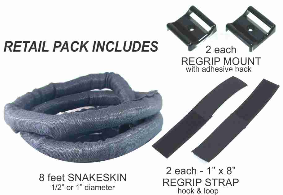 "1"" SNAKESKIN Cable Management Kit - Black - 8 feet pack"