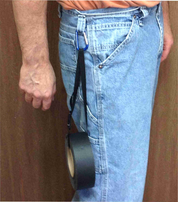 "28"" strap with carabiner in on belt loop"