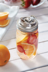 Stainless Steel 2-in-1 Drink and Fruit Infusion Lid for Regular Mouth Jars