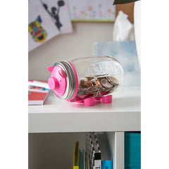 Jarware Pink Piggy Bank - Mason Jar Canning Accessory - Photo