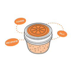Jarware Orange Jelly/Jam Lid - Mason Jar Canning Accessory - Illustration