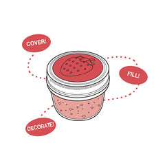 Jarware Strawberry Jelly/Jam Lid - Mason Jar Canning Accessory - Illustration