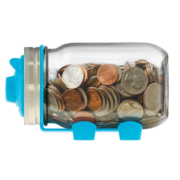 Jarware Blue Piggy Bank - Mason Jar Canning Accessory