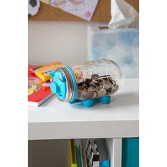 Jarware Blue Piggy Bank - Mason Jar Canning Accessory - Photo