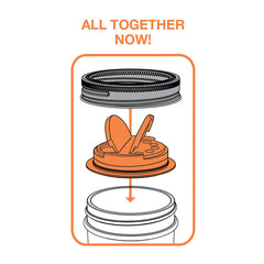 Jarware Set of 2 Spice Lids - Blue and Orange - Mason Jar Accessory - Illustration 2