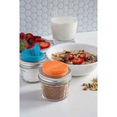 Jarware Set of 2 Spice Lids - Blue and Orange - Mason Jar Accessory - Photo