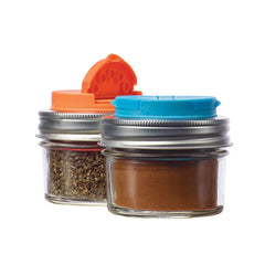 Jarware Set of 2 Spice Lids - Blue and Orange - Mason Jar Accessory