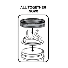 Jarware Set of 2 Spice Lids - Black and White - Mason Jar Accessory - Illustration 2