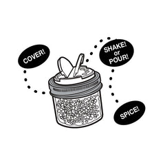 Jarware Set of 2 Spice Lids - Black and White - Mason Jar Accessory - Illustration