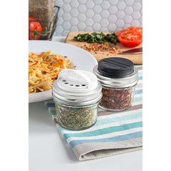 Jarware Set of 2 Spice Lids - Black and White - Mason Jar Accessory - Photo