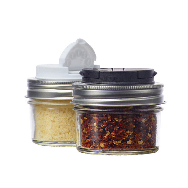 Jarware Set of 2 Spice Lids - Black and White - Mason Jar Accessory