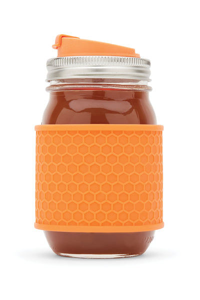 Silicone Mason Jar Protector Sleeve - Honeycomb Pattern Set of 2