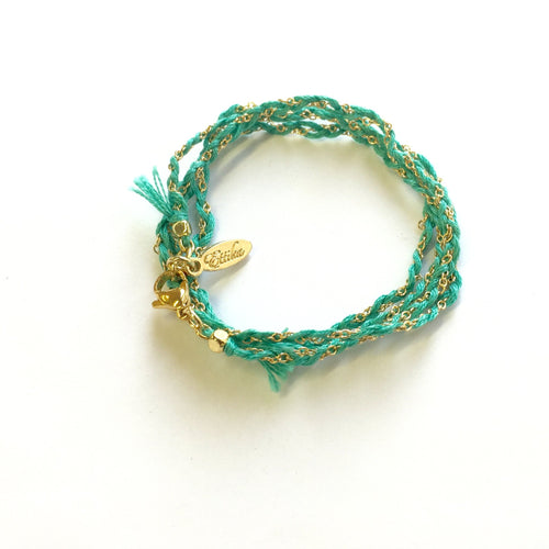 Truth or Dare Wrap Bracelet - Turquoise and Gold.