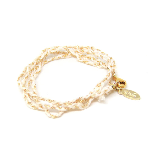 Baby String Wrap Bracelet - Cream and White