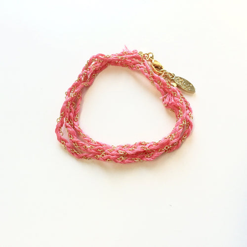 Truth or Dare wrap bracelet Pink and Gold