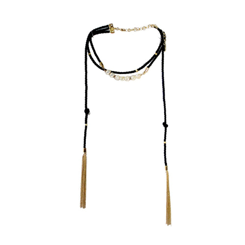 Dazzled Romance Necklace in black and gold