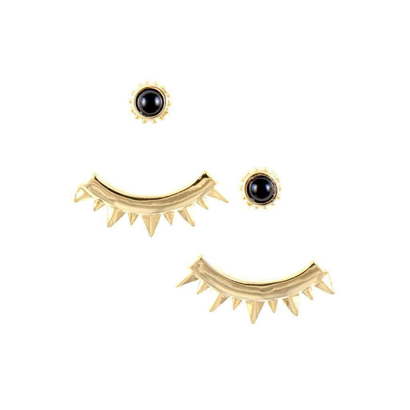 Eyes of Mars Earrings in Onyx and Gold